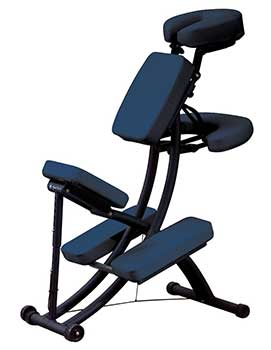 An image of the Oakworks Portal Pro 3 Portable Massage Chair in blue upholstery