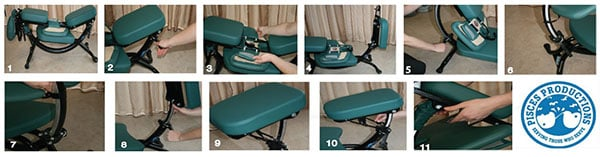 A series of eleven images demonstrating how to setup the Dolphin II massage therapy chair