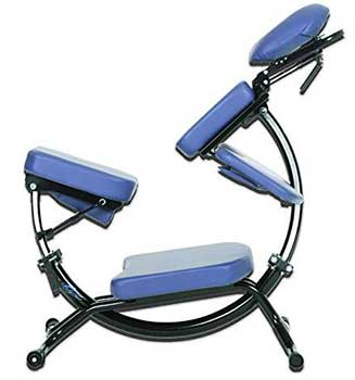 Side view of the Pisces Dolphin II portable massage chair in blue upholstery