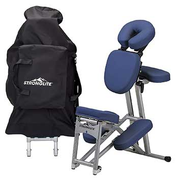 An image of the StrongLite Ergo Pro II's black carrying case and massage chair in blue upholstery