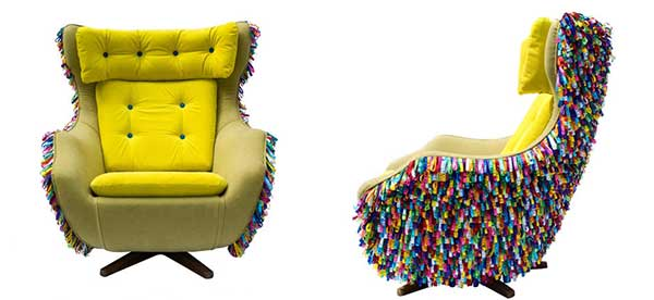 Colorful Bahia Chair with bright yellow cushion and multicolor carpet-like exterior