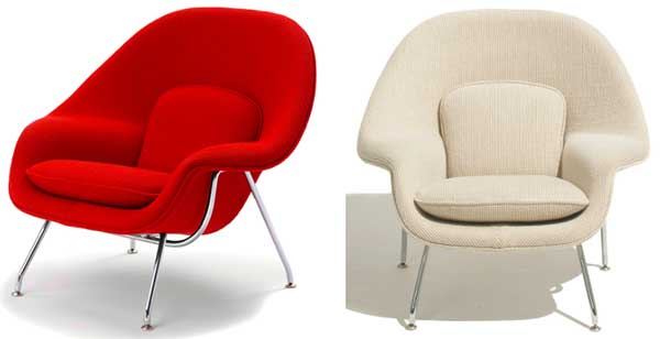 Two Child-Sized Womb Chairs: Red (left) and White (Right)