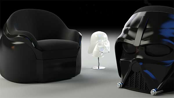 Dark Side Chair, features Darth Vader's helmet sculpted on the back of the chair