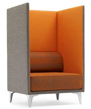 EJ400 Apoluna Box High Back Chair, featuring a cushioned seat in a box-shaped chair
