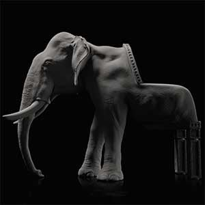 Elephant Chair, a chair featuring an elephant head and legs sculpture as a backrest and chair legs