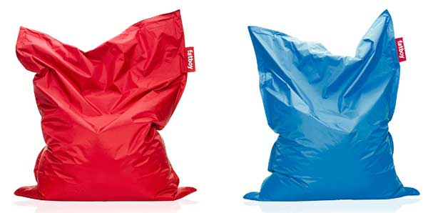 Red and Blue Fat Boy Bean Bag Chairs, resembling a sack or loose pillow