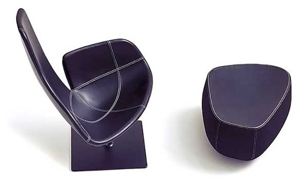 Top view of the Fjord Relax Armchair and ottoman