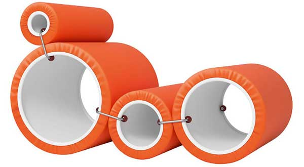 Joe Colombo Tube Chair, a lounger constructed of four different sized tubes covered in orange cushion