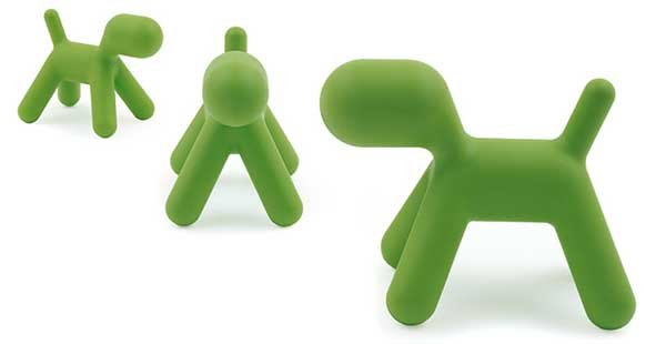 Three views of the Magis Puppy Chair in green color