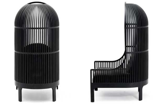 Nest Chair, with a backrest resembling a huge birdcage