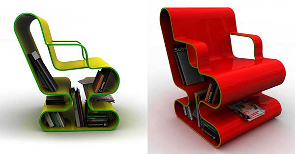 Green (left) and Red (right) Ofo chairs, featuring hollow curved frame for storing books and magazines