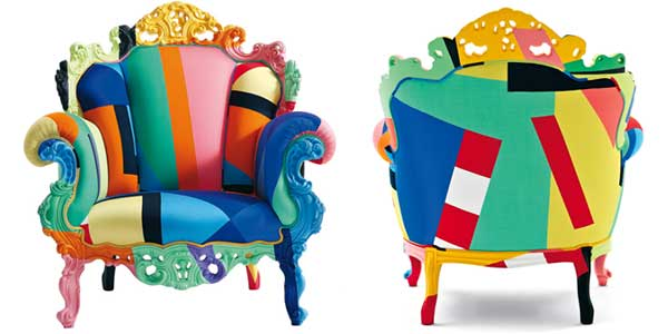 Proust Geometrica Chair, a Victorian armchair painted with different colors in various geometric shapes