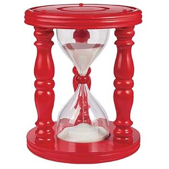 A red Timeout Stool that resembles a giant hourglass
