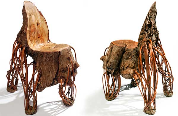 (Left Image) Front view of the Upside Down Chair and (Right Image) Back view of the Upside Down Chair