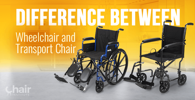 A standard wheelchair (left) and a transport chair (right) in a kitchen