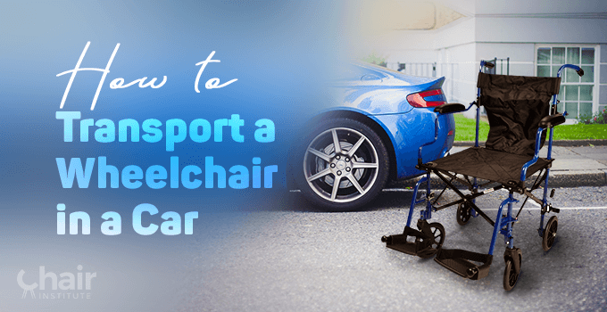 A wheelchair and a blue car near a pavement outside a house