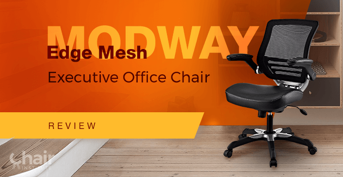 Black Modway Edge Mesh Executive Chair near a staircase and bookcase