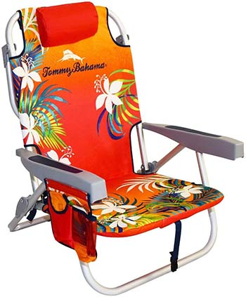 Tommy Bahama Backpack Beach Chair Orange Red Floral Variant