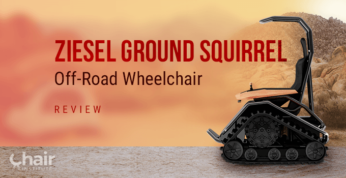 Side view of the Ziesel Ground Squirrel wheelchair in a sandy outdoor