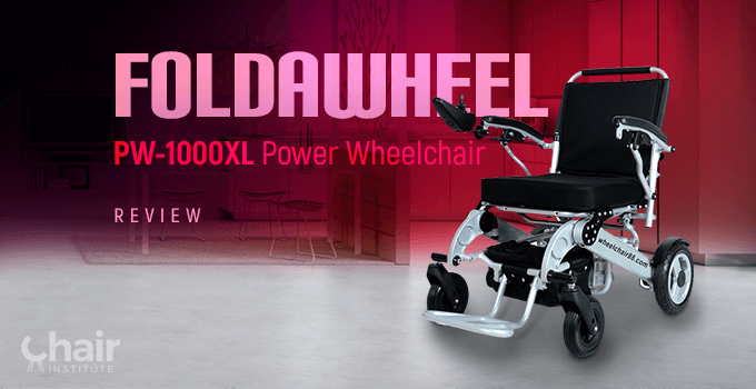 Foldawheel PW-1000XL Power Wheelchair in a modern kitchen and dining area