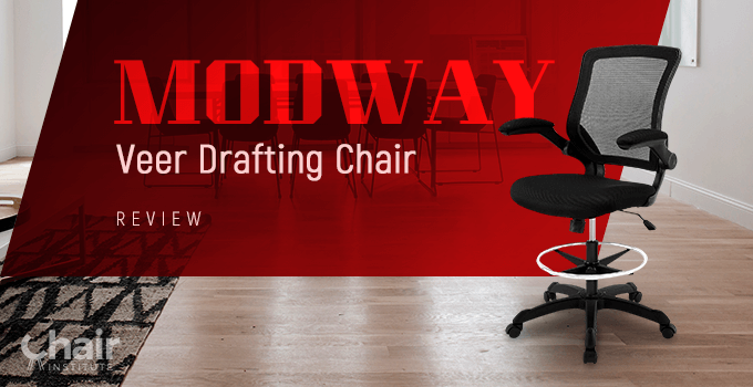 Modway Veer Drafting Chair in a contemporary conference room