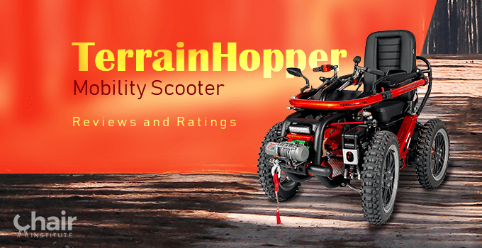 Red TerrainHopper Mobility Scooter in the outdoors