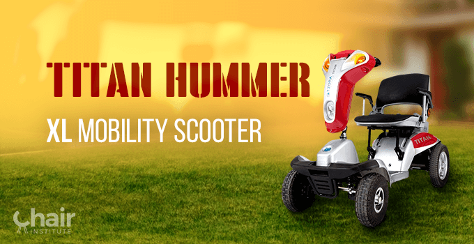 The Titan Hummer XL Mobility Scooter in silver in an outdoor setting