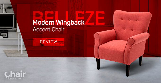 Brick red variant of Belleze Modern Wingback high back accent chair in a modern open-style dining and kitchen area