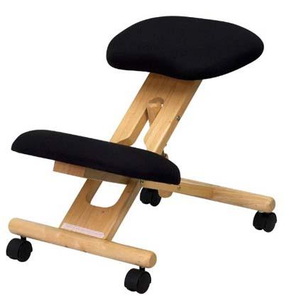 Black Flash Furniture Mobile Wooden Ergonomic Kneeling Chair