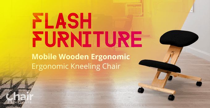 Flash Furniture Mobile Wooden Ergonomic Kneeling Chair in a contemporary living room