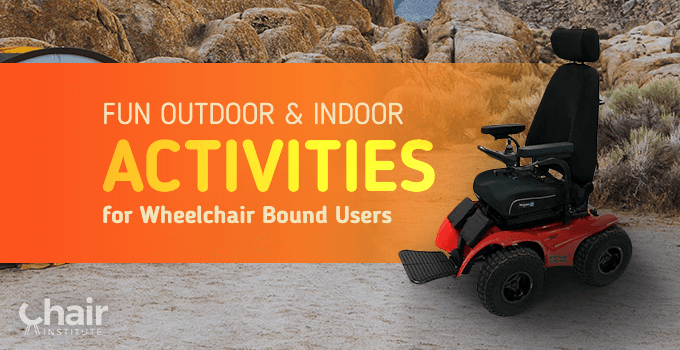 An electric powered wheelchair in a camping ground near boulders of mountain rock