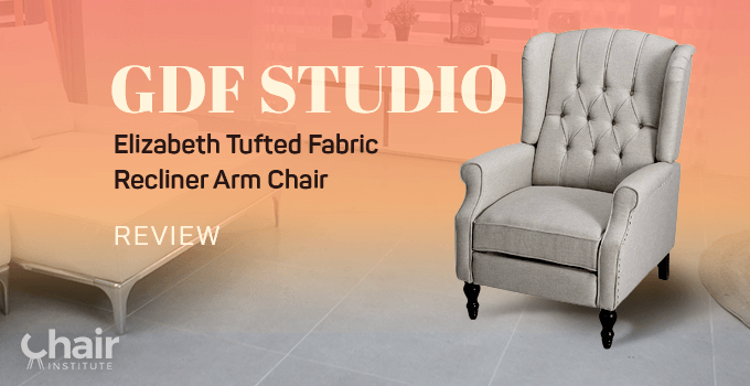 Light Grey GDF Studio Elizabeth Tufted Fabric Recliner Arm Chair in a modern contemporary living room
