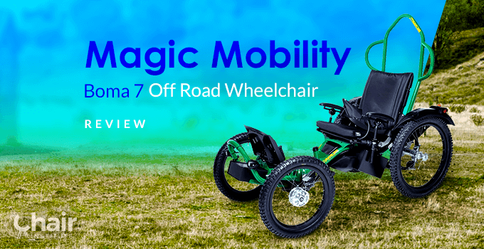 The Boma 7 Off Road Wheelchair in a grassy outdoor