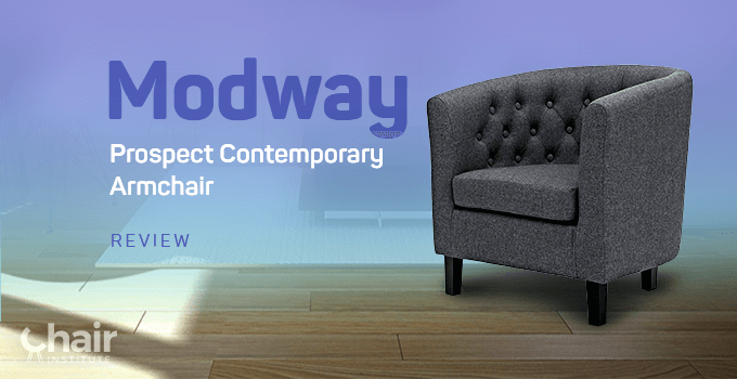 Gray Modway Prospect Contemporary Armchair in a contemporary living room with wood flooring