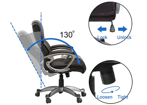 A Recliner Angle View of Leather Office & Gaming Chair of Yamasoro Office Chair