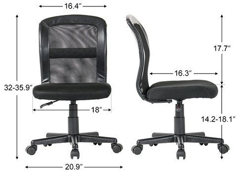 An Image of Specification Stats of Mid Back Mesh Task for Yamasoro Office Chair