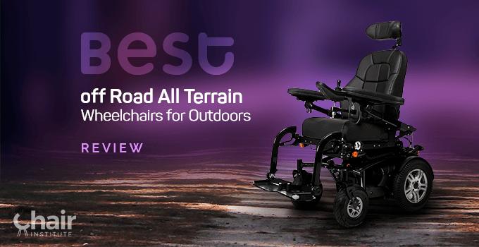 Black power wheelchair in a dirt road