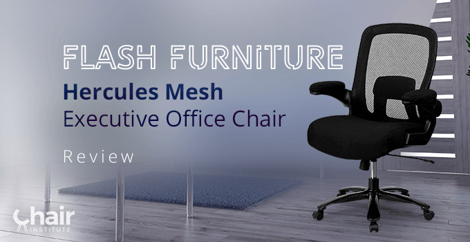 The Flash Furniture Hercules Mesh Executive Office Chair with a table and rug in the background
