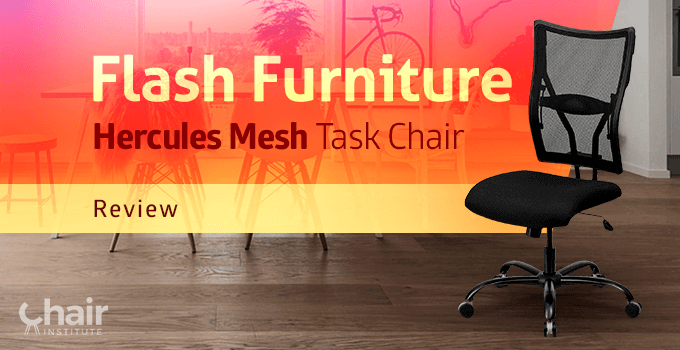 The Flash Furniture Hercules Mesh Executive Swivel Task Chair in a room with a table and chairs in the background