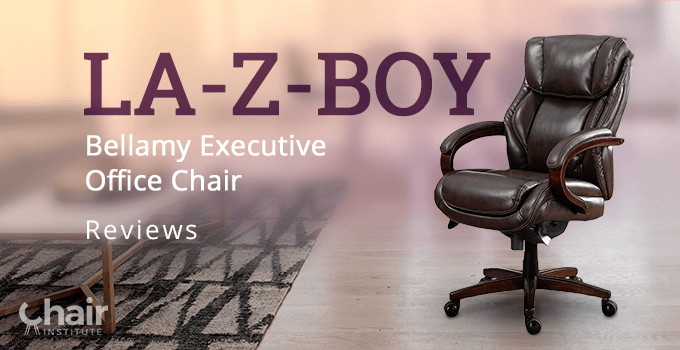 The La-Z-Boy Bellamy Executive Office Chair with a table on a carpet in the opposite side