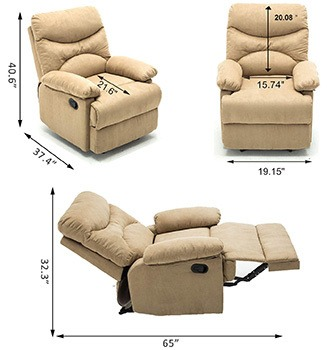 Dimensions of Windaze Massage Recliner