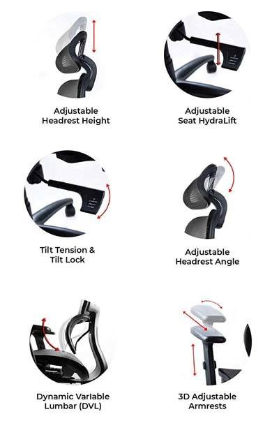 An image showing 6 different adjustable features of NOUHAUS Ergo3D Mesh Office Chair