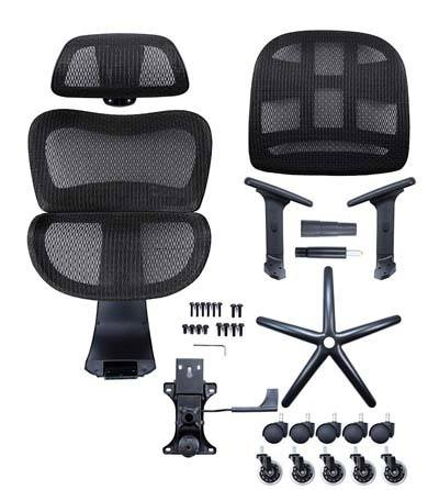 An image showing all the different parts of NOUHAUS Ergo3D Office Chair.