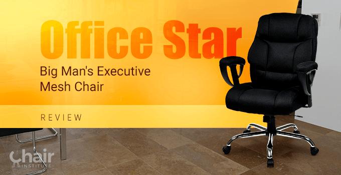 The Office Star Big Man's Executive Mesh Chair on a tiled floor