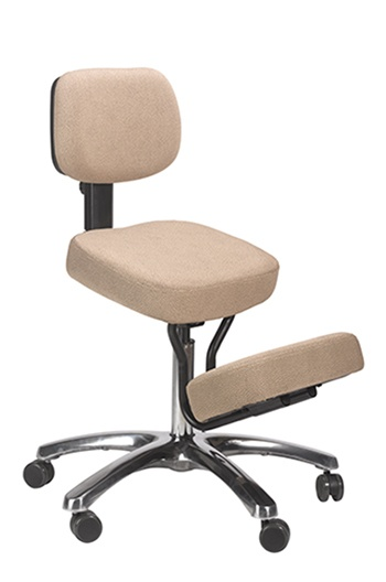 A side pose image of Jobri BetterPosture Jazzy Kneeling Chair in Beige color