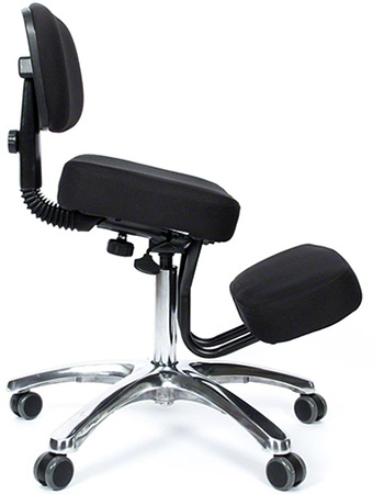 A side image of Jazzy Deluxe Kneeling Chair in Black color