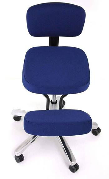 A front side of Jobri BetterPosture Jazzy Kneeling Chair in Blue color