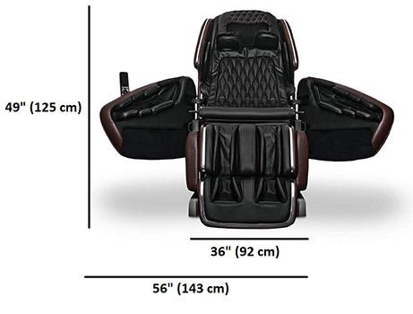 Front Dimensions Stats of OHCO M.8 Elite & LE Massage Chair