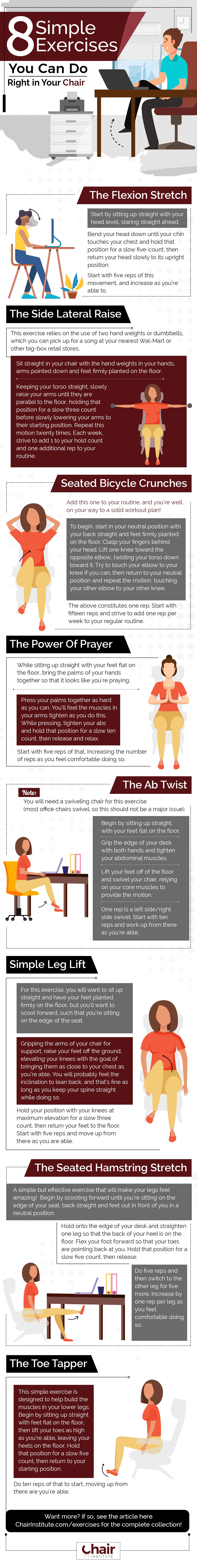 Infographic Illustration of Exercise You Can Do in a Chair