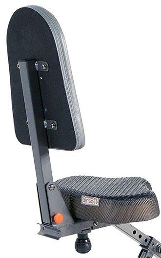 Adjustable seat and seatback of the Exerpeutic Exerwork 2000i Folding Bike